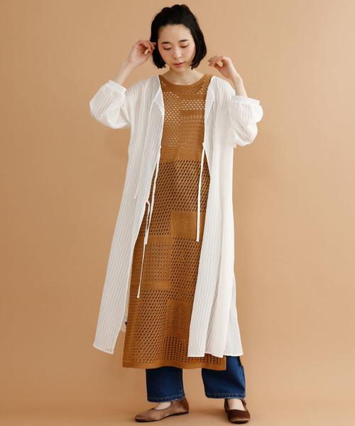 かぎ針編みメッシュワンピース079-7066