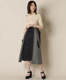 REDYAZEL(レディアゼル)の配色ヘリンボーンフロントボタンスカート(スカート)