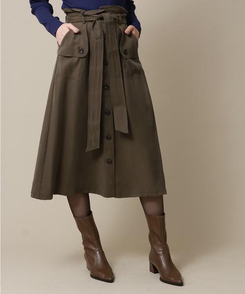 YECCA VECCA(イェッカヴェッカ)の「トレンチAラインスカート(スカート)」|カーキ