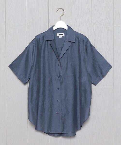 <H>COTTON×SILK OPEN COLLAR SHORT SLEEVE SHIRT/シャツ