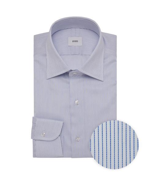 「ドレスシャツ(カスタムオーダー)/ピンストライプ ホワイト×ネイビー[MEN](シャツ/ブラウス)」