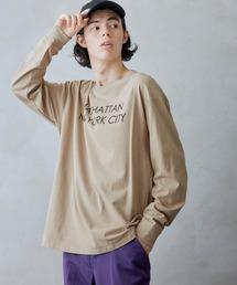 ロゴ×フォトプリント オーバーサイズクルーネック長袖Tシャツ /グラフィック / アート / ロック / バックプリント / フォト / アメリカンベージュ