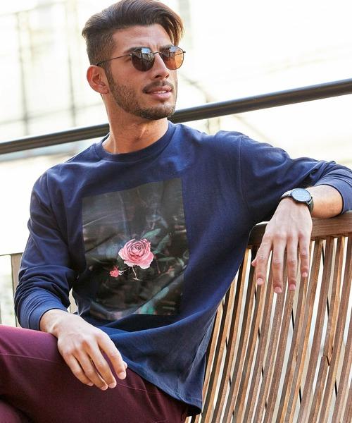 ロゴ×フォトプリント オーバーサイズクルーネック長袖Tシャツ /グラフィック / アート / ロック / バックプリント