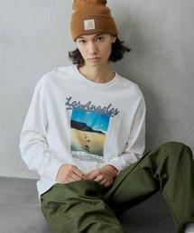 ロゴ×フォトプリント オーバーサイズクルーネック長袖Tシャツ /グラフィック / アート / ロック / バックプリント / フォト / アメリカンその他10