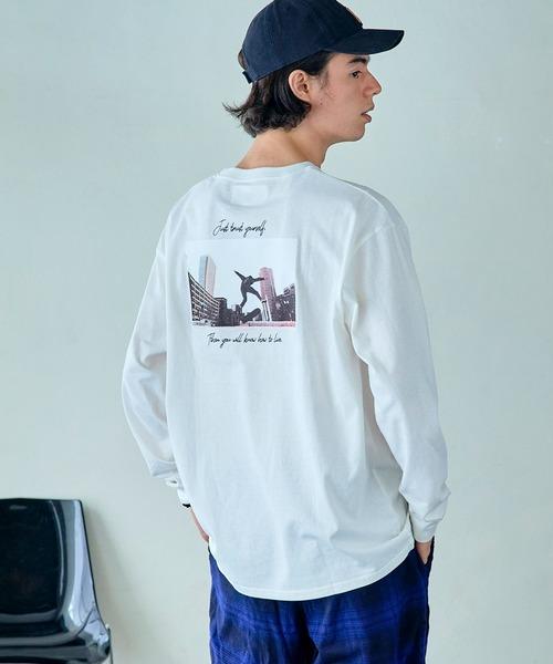 ロゴ×フォトプリント オーバーサイズクルーネック長袖Tシャツ