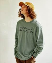 ロゴ×フォトプリント オーバーサイズクルーネック長袖Tシャツ /グラフィック / アート / ロック / バックプリント / フォト / アメリカングリーン