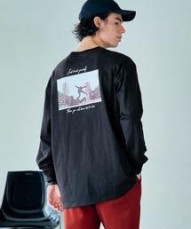 ロゴ×フォトプリント オーバーサイズクルーネック長袖Tシャツ /グラフィック / アート / ロック / バックプリント / フォト / アメリカンその他21