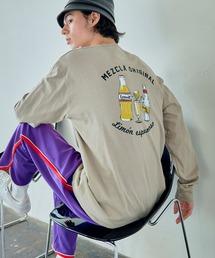 ロゴ×フォトプリント オーバーサイズクルーネック長袖Tシャツ /グラフィック / アート / ロック / バックプリント / フォト / アメリカンその他22