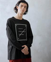 ロゴ×フォトプリント オーバーサイズクルーネック長袖Tシャツ /グラフィック / アート / ロック / バックプリント / フォト / アメリカンブラック系その他3