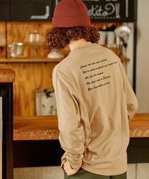 ロゴ×フォトプリント オーバーサイズクルーネック長袖Tシャツ /グラフィック / アート / ロック / バックプリント / フォト / アメリカンベージュ系その他2