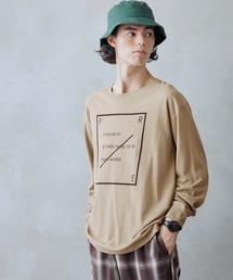 ロゴ×フォトプリント オーバーサイズクルーネック長袖Tシャツ /グラフィック / アート / ロック / バックプリント / フォト / アメリカンベージュ系その他3