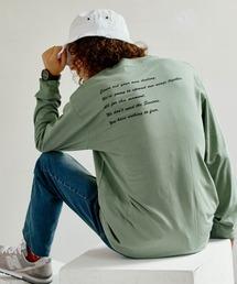 ロゴ×フォトプリント オーバーサイズクルーネック長袖Tシャツ /グラフィック / アート / ロック / バックプリント / フォト / アメリカングリーン系その他2