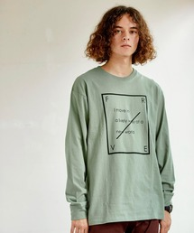 ロゴ×フォトプリント オーバーサイズクルーネック長袖Tシャツ /グラフィック / アート / ロック / バックプリント / フォト / アメリカングリーン系その他3