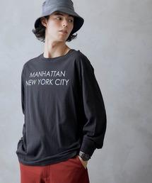 ロゴ×フォトプリント オーバーサイズクルーネック長袖Tシャツ /グラフィック / アート / ロック / バックプリント / フォト / アメリカンブラック
