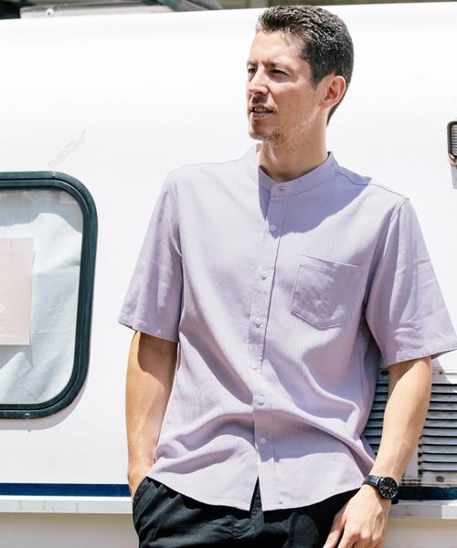麻レーヨン バンドカラー 半袖 リネンシャツ