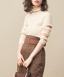 natural couture(ナチュラルクチュール)の便利なもちもちリブタートル(ニット/セーター)