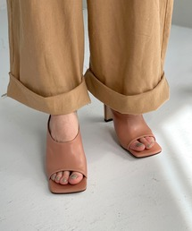 【chuclla】Square -toe round cut open sandal sb-6 chs12コーラル