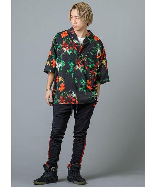 【RE730】ボタニカル柄オープンカラーシャツ 総柄開襟シャツ