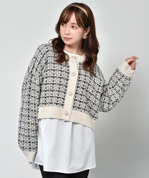 柄編みショートカーデ