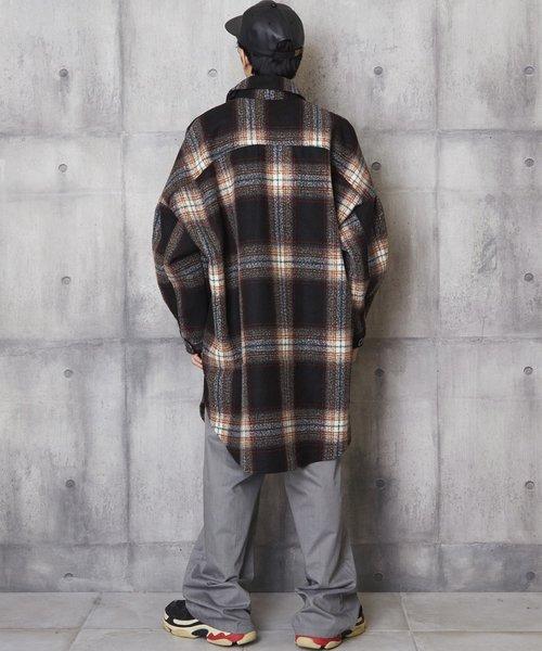 オーバーサイズチェックシャツコート