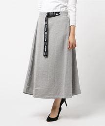 ロゴテープベルト付きスカート マキシフレアスカート杢グレー