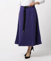 ロゴテープベルト付きスカート マキシフレアスカートパープル