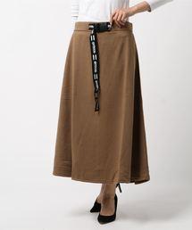 ロゴテープベルト付きスカート マキシフレアスカートライトブラウン