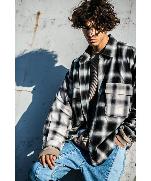 <monkey time> SWITCHING OMBRE CHECK SHIRT/オンブレチェックシャツ
