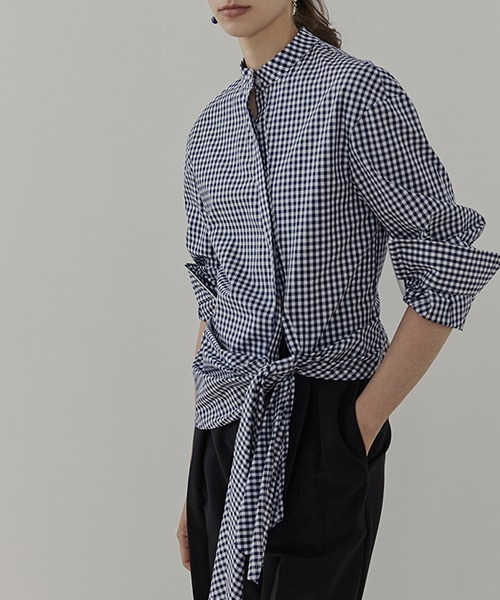 【UNSPOKEN】Gingham plaid stand‐up collar shirt UD20S006