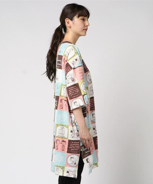 SNOOPY Block Pattern Print Wide Long Tee/スヌーピー ブロック 柄 ワイド ロング Tシャツ