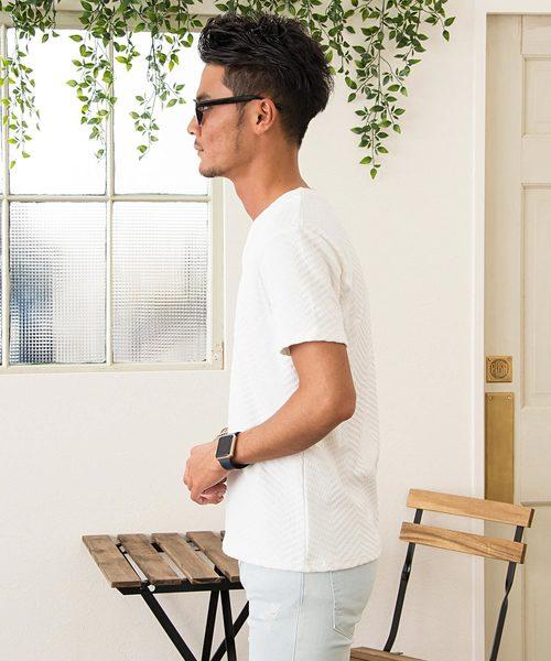 ふくれシェブロン柄Vネック半袖Tシャツ / CAST18-105