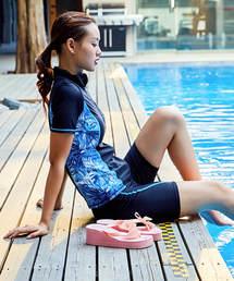 Angel Luna(エンジェル ルナ)の【2色 4点セット】細見え&体型カバーできるフィットネス水着 スイムキャップ付 インナーショーツ付(水着)