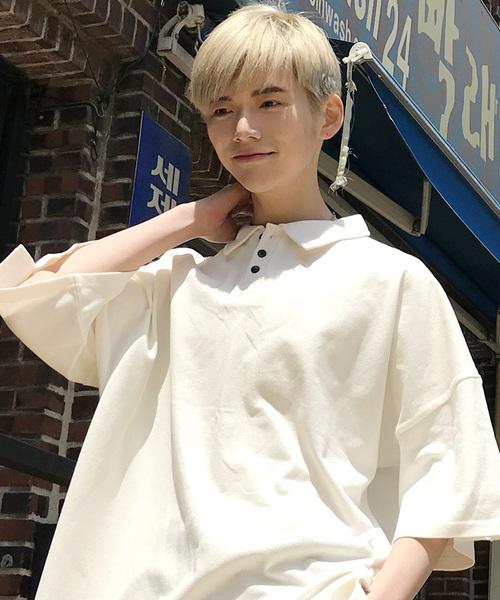 【BASQUE -enthusiastic design-】ルーズシルエットドロップショルダーワイドポロシャツ
