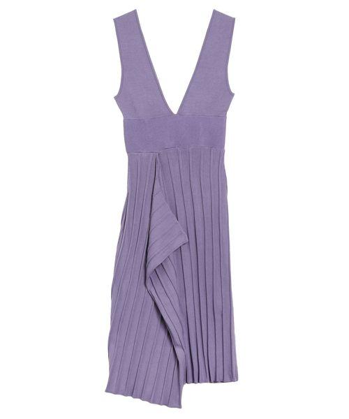 LAGUNAMOON(ラグナムーン)の「アシンメトリーヘムニットジャンパースカート(スカート)」|パープル