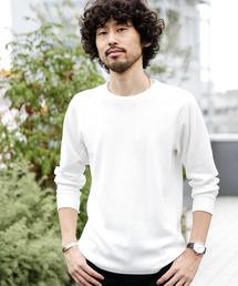 nano・universe(ナノユニバース)の【WEB限定】ジャガードワッフルロングスリーブTシャツ(Tシャツ/カットソー)