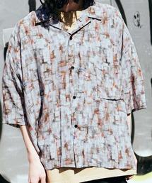 ドレープ リラックス アソート柄オープンカラーシャツグレー系その他2