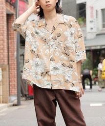 ドレープ リラックス アソート柄オープンカラーシャツベージュ系その他3
