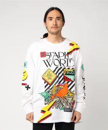 【STAPLE】フロント&袖プリント刺繍パッチ長袖Tシャツ(Tシャツ/カットソー)