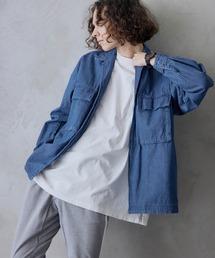 ビッグシルエット シェフCPOシャツジャケットインディゴブルー