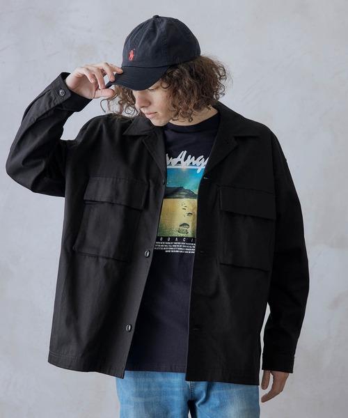 ビッグシルエット シェフCPOシャツジャケット/Chef's Shirt/ツイル/デニム/オンブレチェック/セットアップ対応