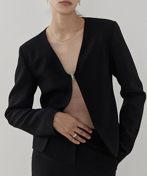 【UNSPOKEN】Collarless jacket UD20S048