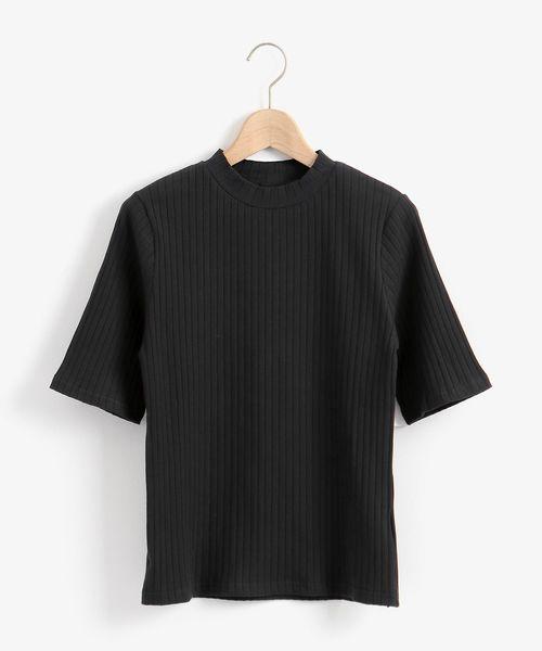 Perle Peche(ペルルペッシュ)の「リブハイネック5分袖カットソー(Tシャツ/カットソー)」|ブラック