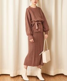 natural couture(ナチュラルクチュール)の【WEB限定】ケーブルニットセットアップ(ワンピース)
