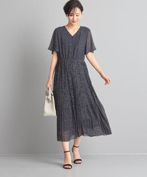 【WORK TRIP OUTFITS】★WTO CS ランダムドット プリーツワンピース