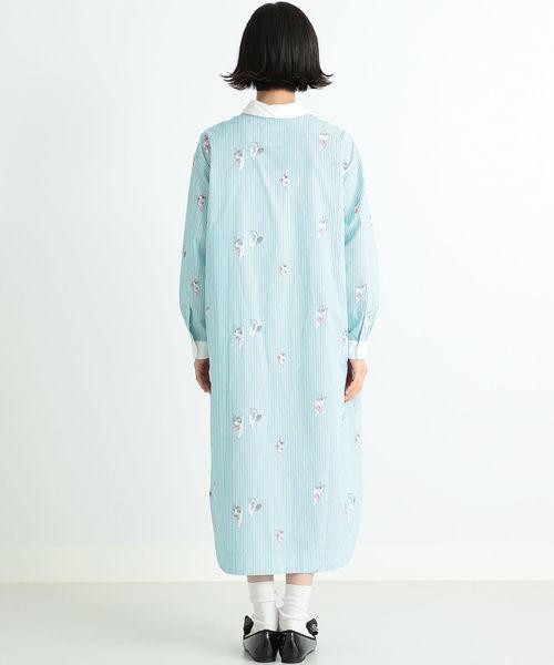 【しょこたん着用】mmts / ピンクちゃん ストライプ シャツワンピース