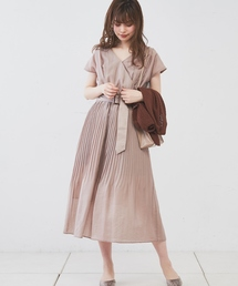 natural couture(ナチュラルクチュール)のカシュクール2WAYプリーツワンピース(ワンピース)