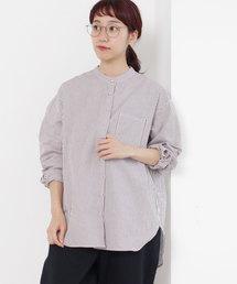 PAR ICI(パーリッシィ)のストライプ スタンドシャツ(シャツ/ブラウス)