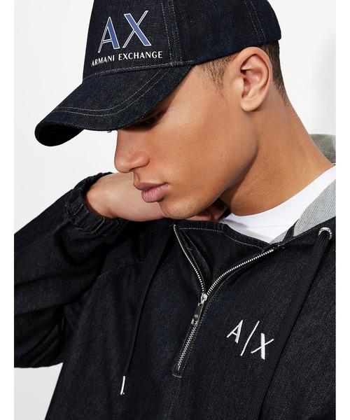 【A X アルマーニ エクスチェンジ】AXロゴ デニムキャップ