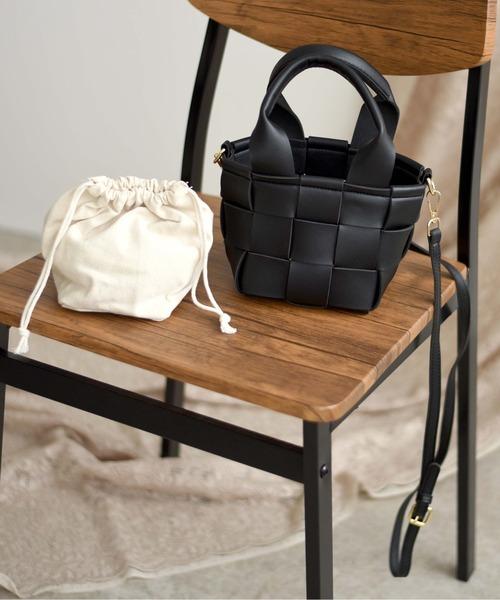 ブロック編みポーチ付きバッグ