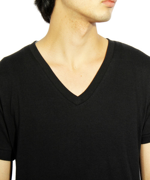 Vネック 無地 半袖 Tシャツ